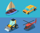 Isometric Transportation Clip Art Set in Blue Background