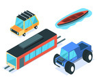 Isometric Transportation Clip Art Set on White Background