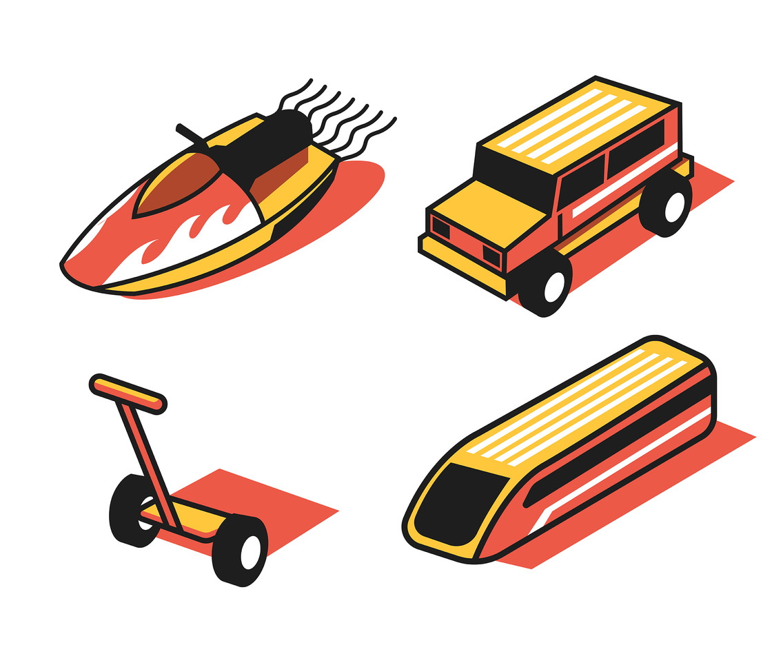 Isometric Transportation Clip Art Set in Thick Lines