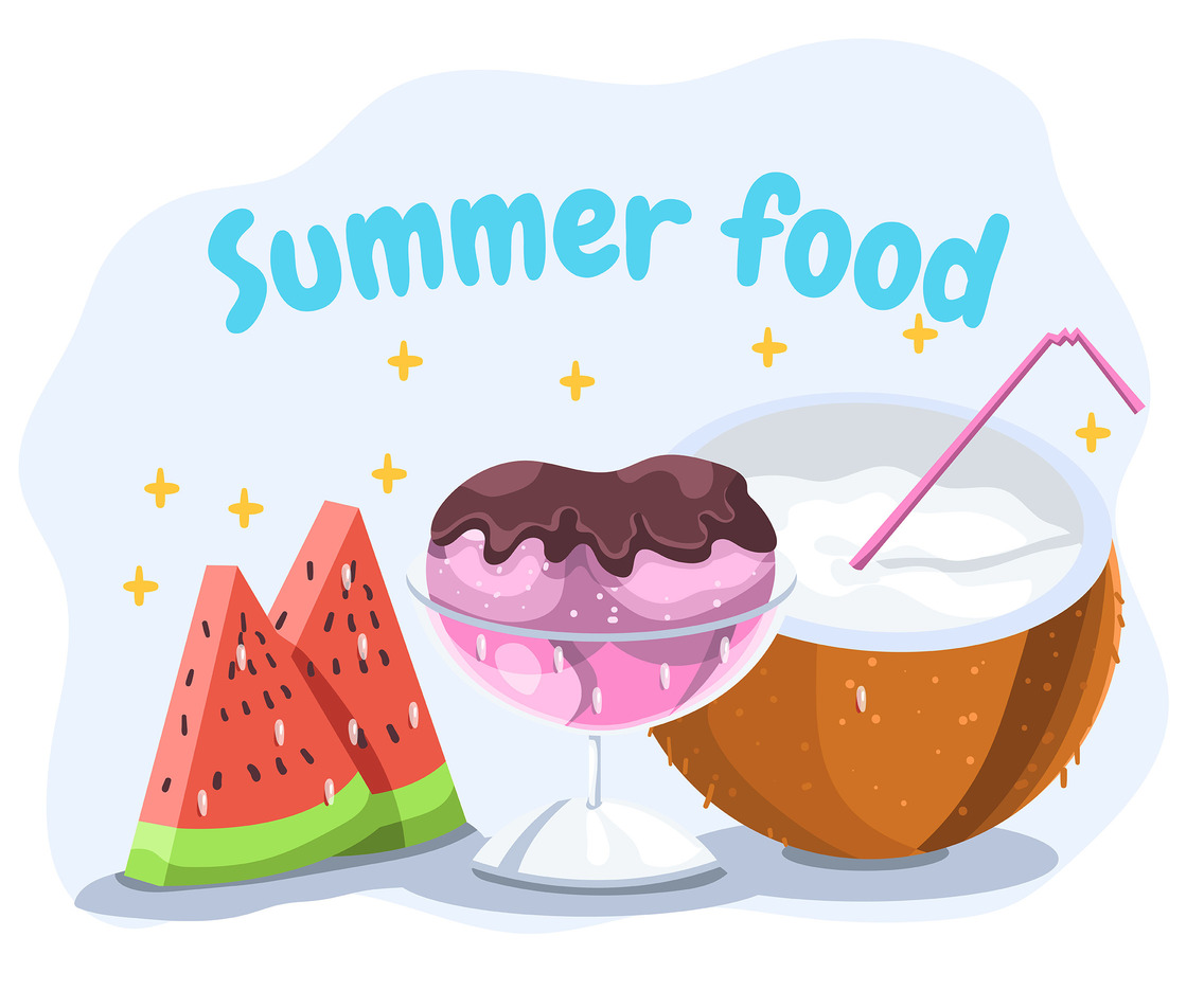 Summer Food on White Background