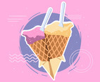 Summer Ice Cream on Pink Background