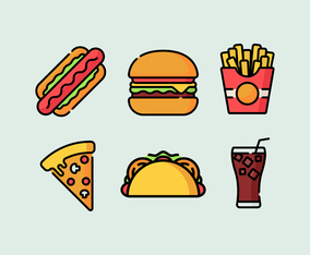 Summer Food Icons Vector
