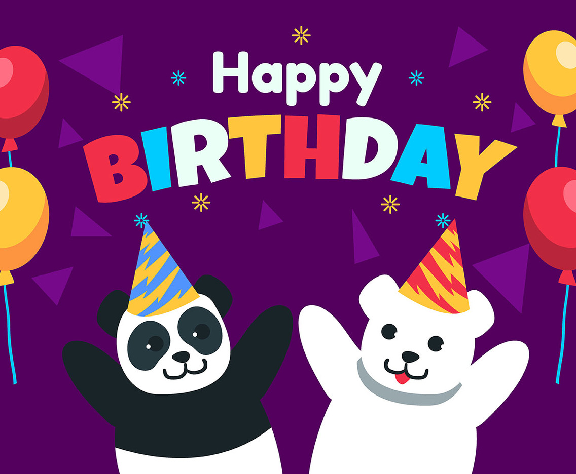 Happy Birthday Animal Panda and Polar Bear