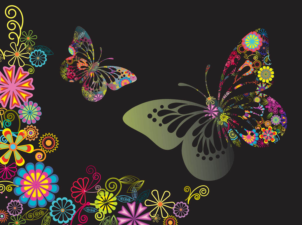 Colorful Flowers And Butterflies Vector Art & Graphics ...