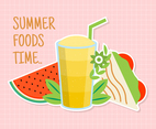 Summer Foods with Pink Background