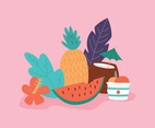 Colorful Doodled Summer Foods