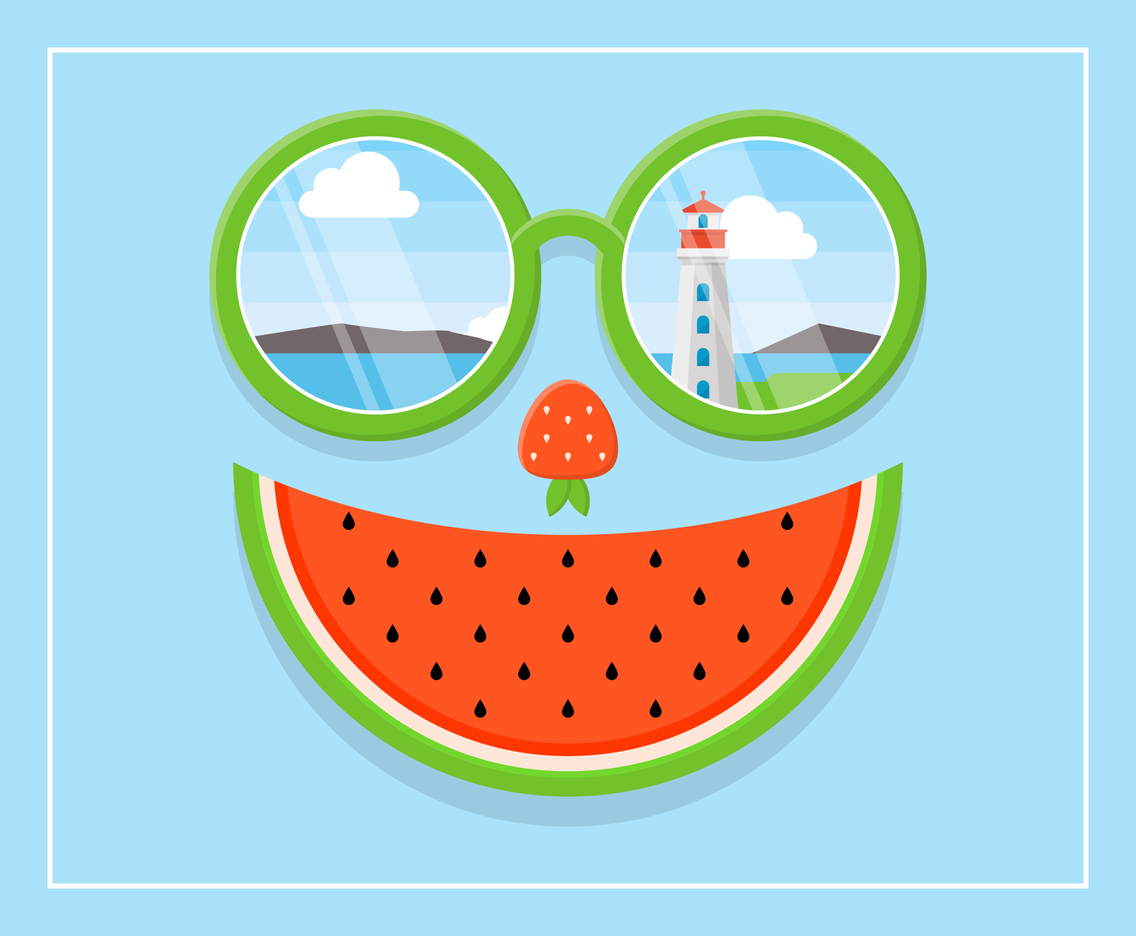 Summer Foods Face with View on The Eyeglass