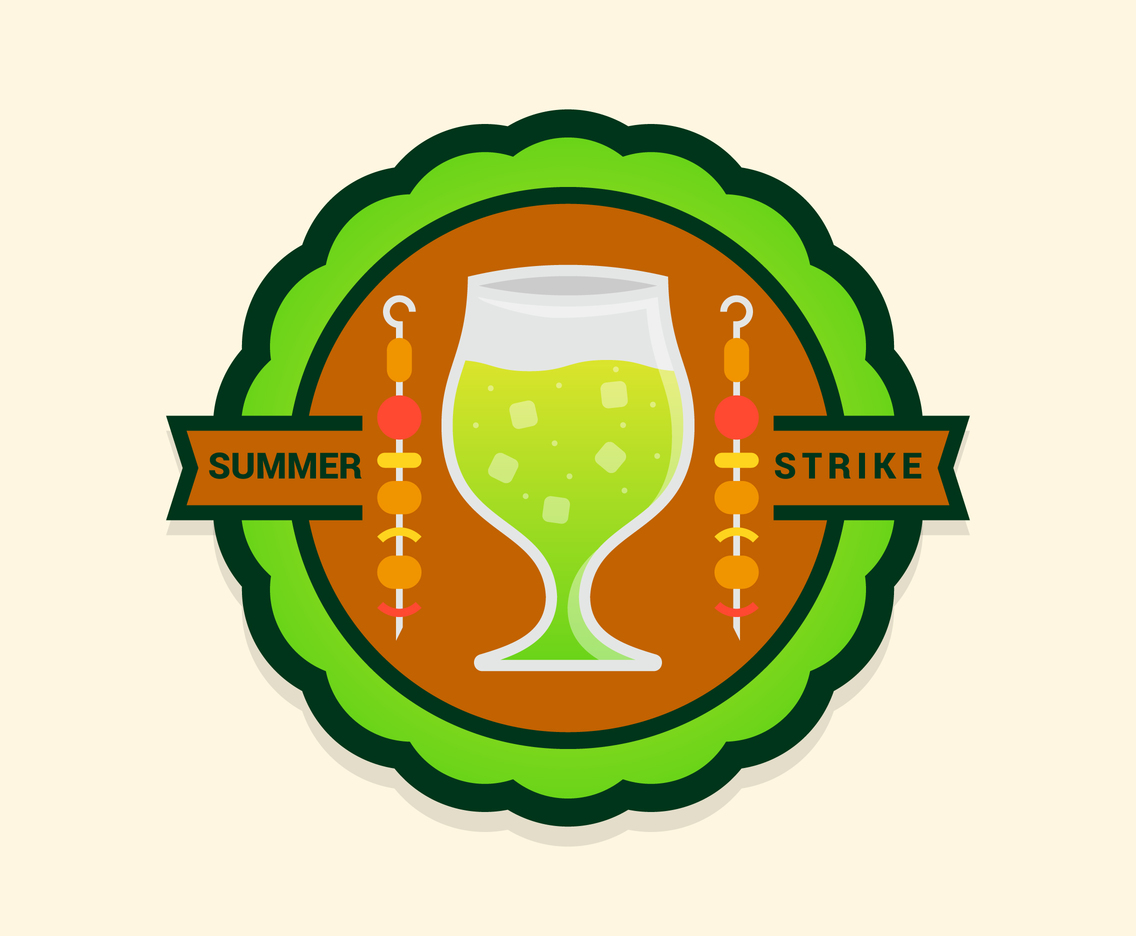 Summer Foods Badge With Lemonade and Barbeque