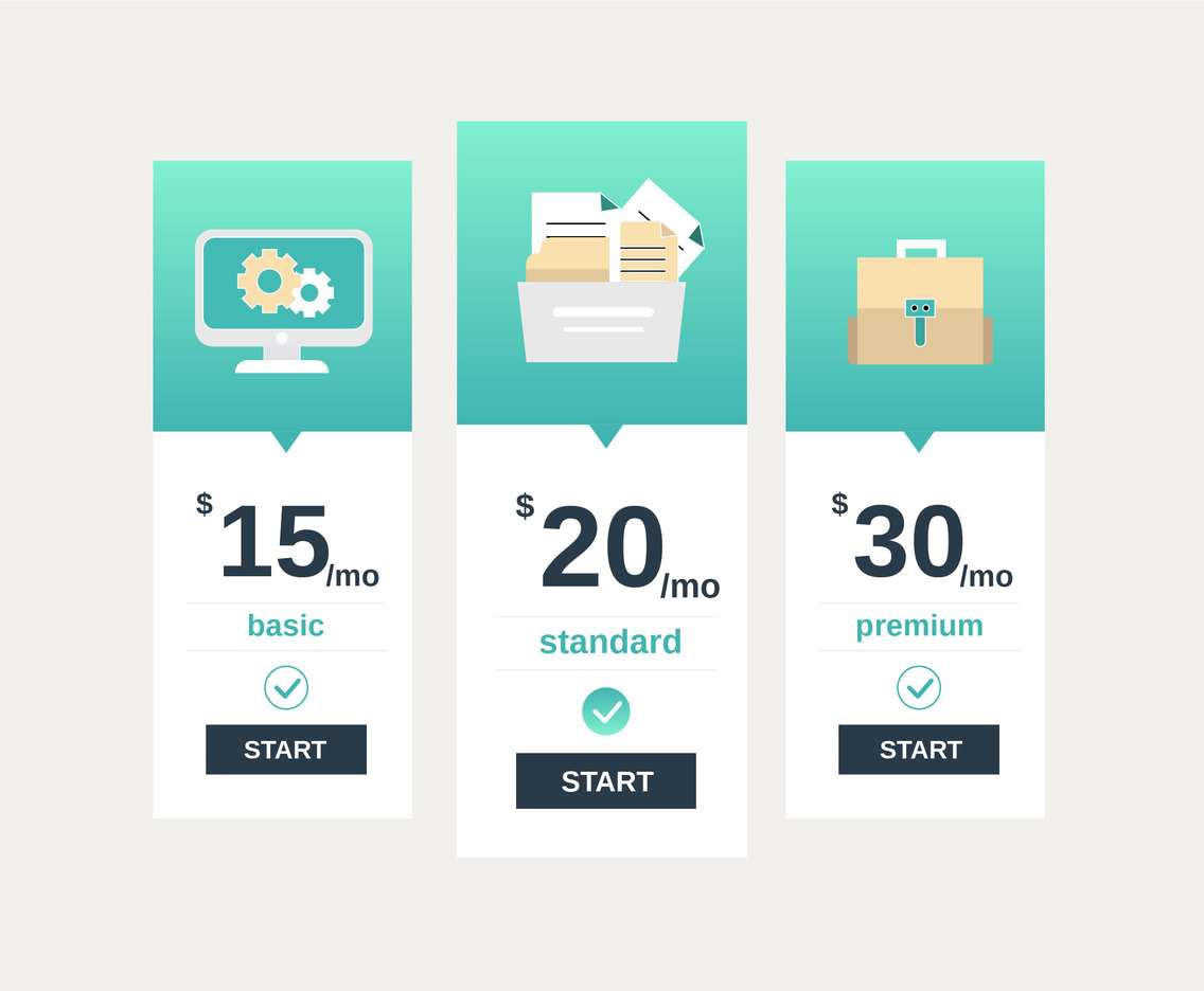 Business Pricing Table Vector