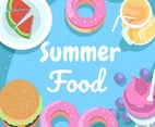 Summer Food on Blue Background