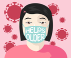 Asian Woman with Message in a Mask for Prevention of Covid-19