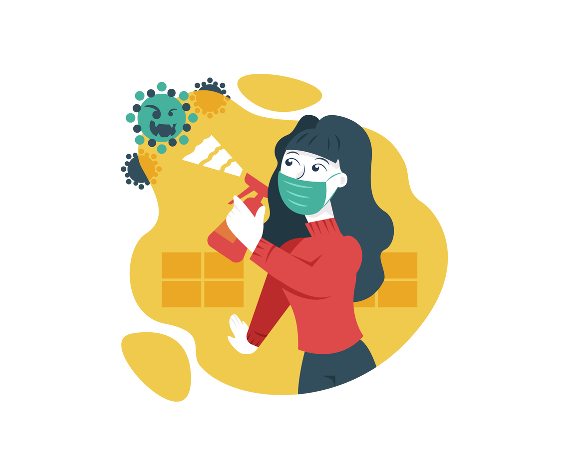 Woman Disinfecting her House for Virus Prevention