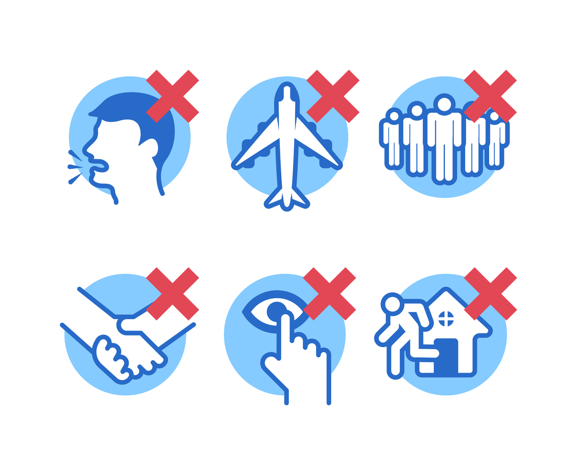 Prohibition Icons for Covid-19 Pandemic