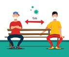 Social Distancing Concept at a Park Bench