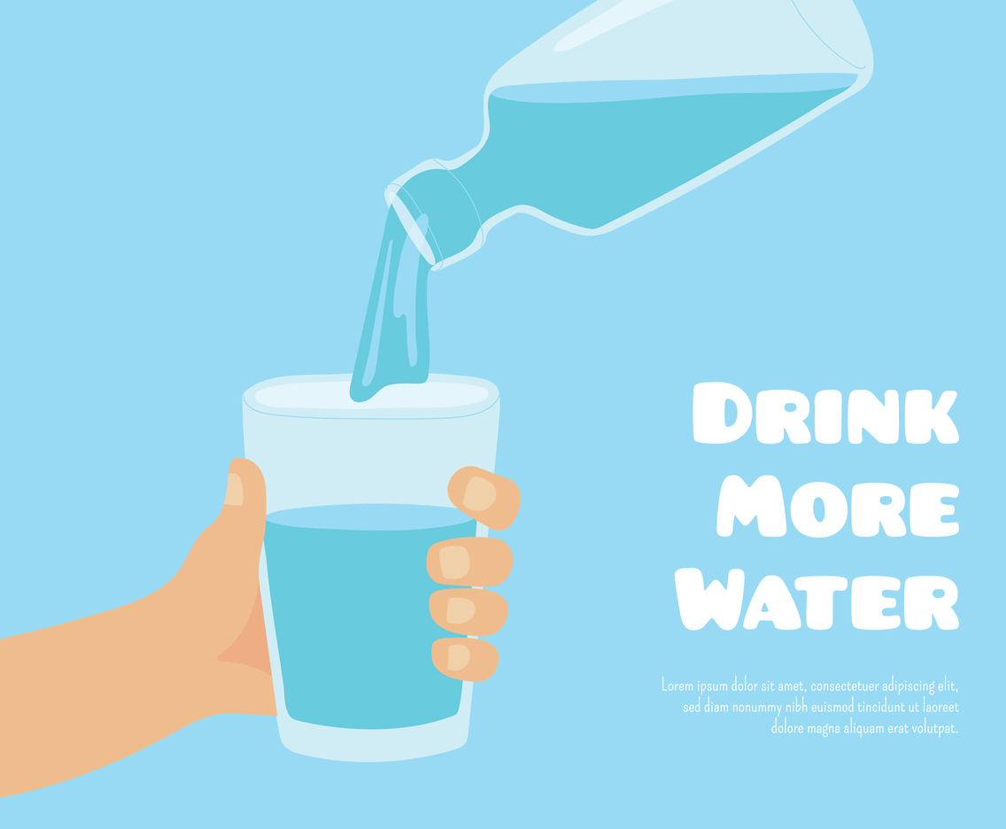 Drink more water poster with hand holding glass