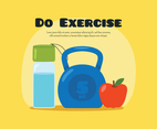 Exercise poster with water, weight and apple