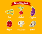 Vegetables Healthy Food Cartoon Set
