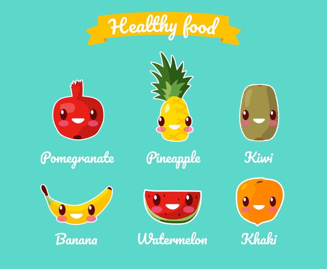 Healthy Foods Cartoon Set