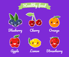 Healthy Food Funny Cartoon Set
