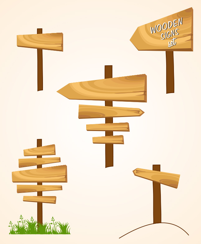 Wooden Sign Vector Pack