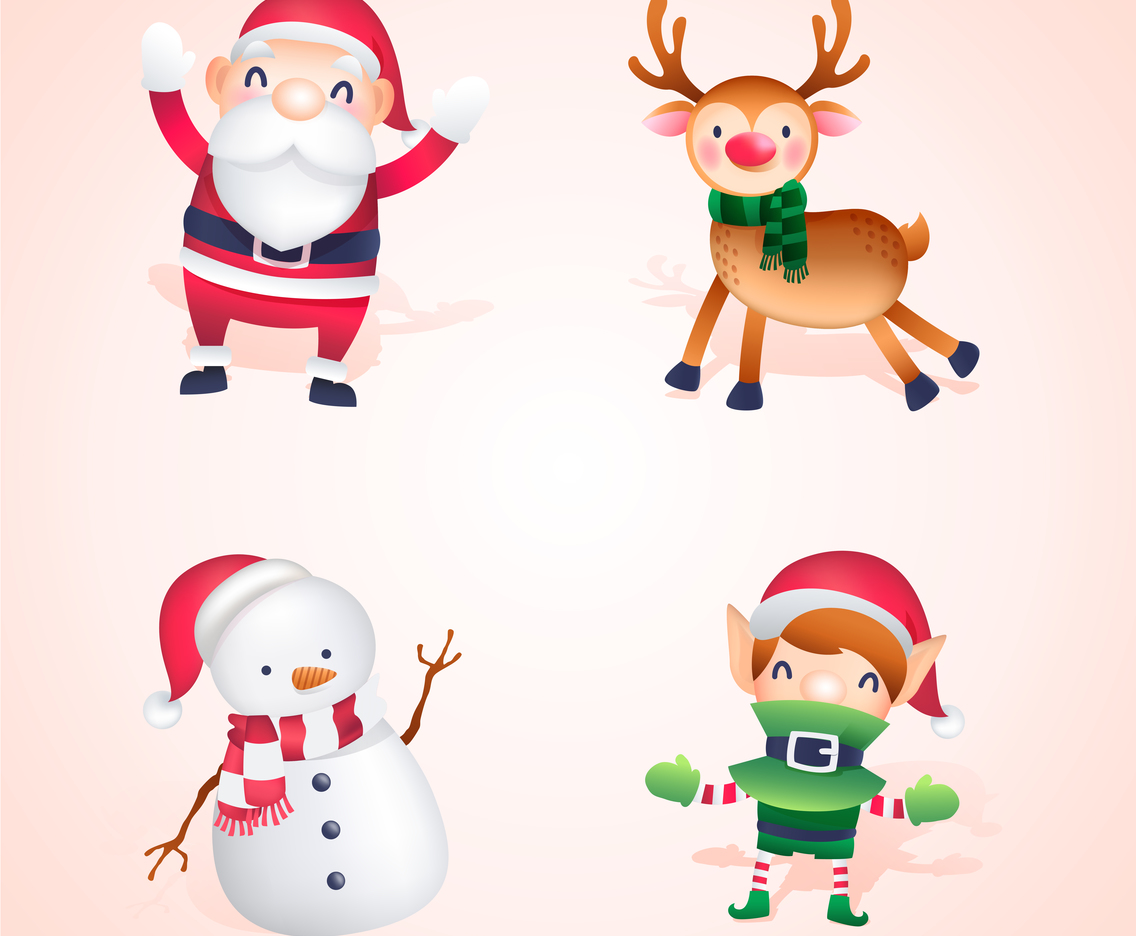 Santa and His helpers Christmas Character Cute