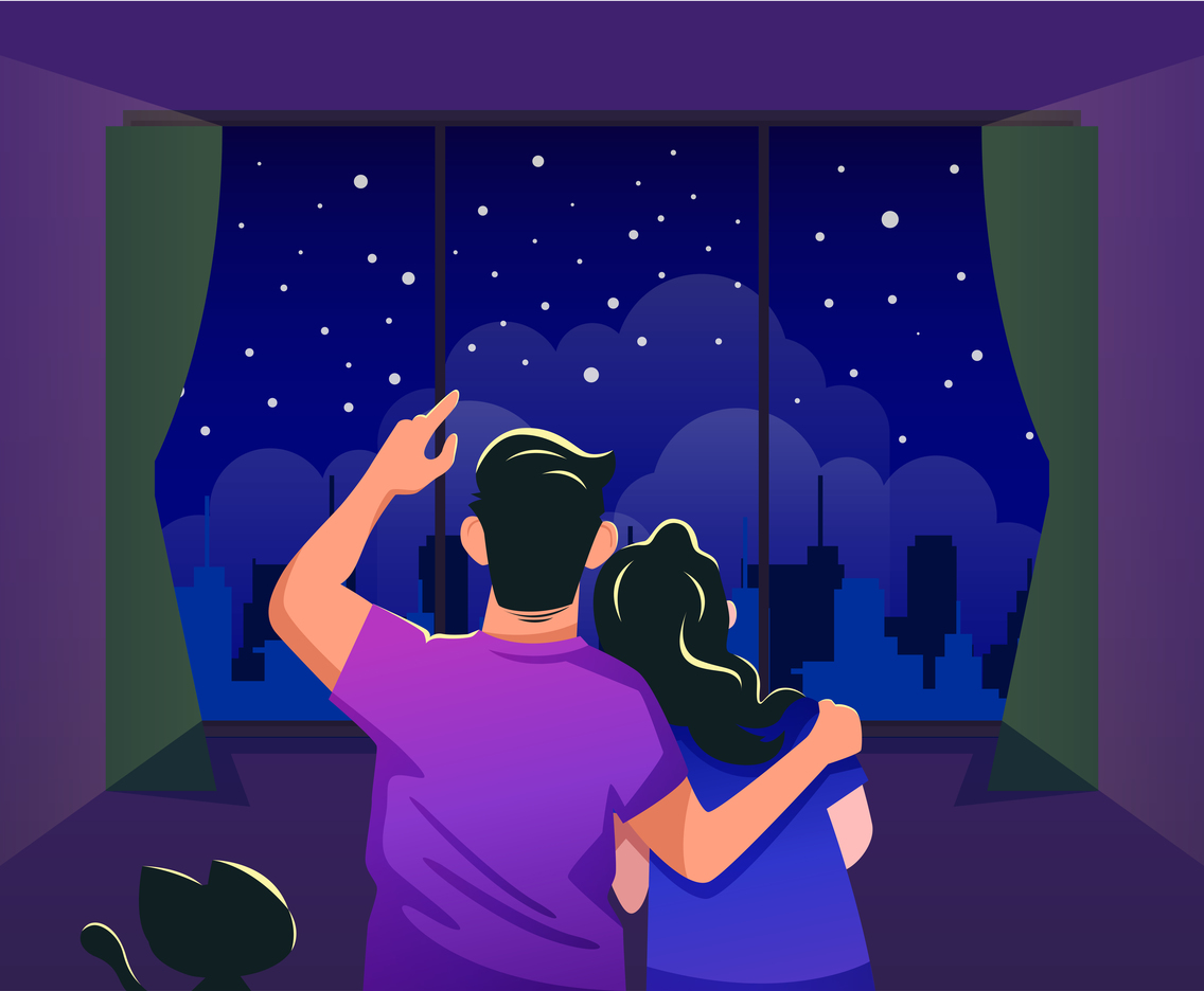 A Couple Enjoy Stary Night