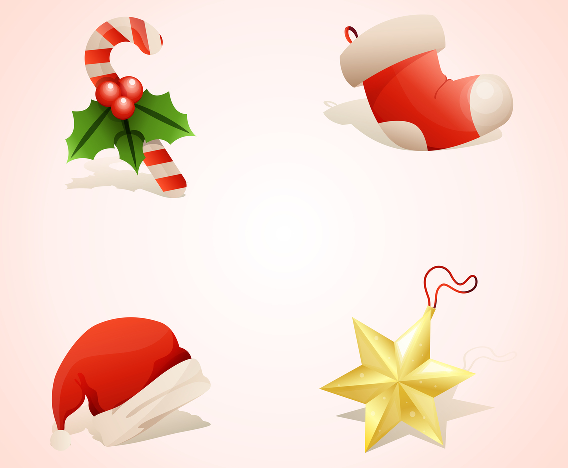 Set of Christmas Realistic Items