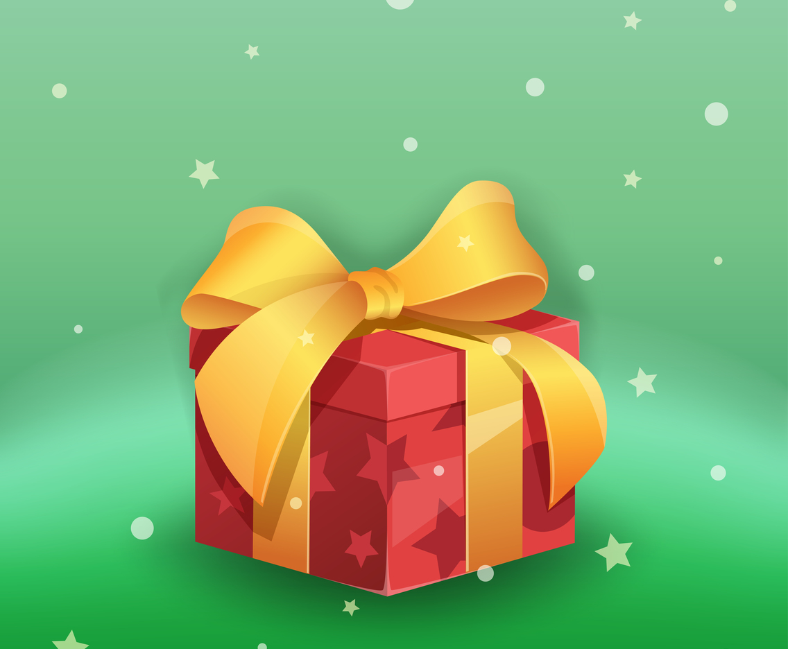 Santa secret gift box with big ribbon