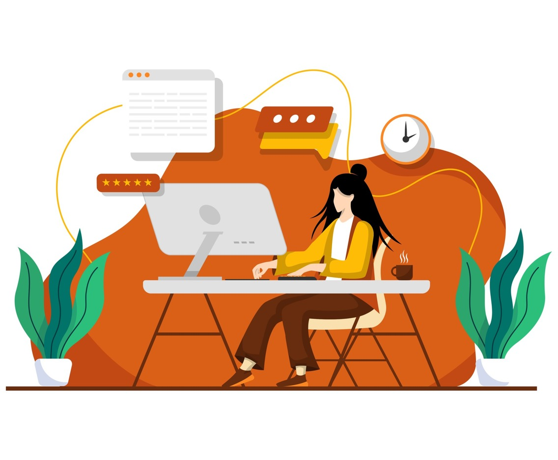 Woman Working at Home Office. Character Sitting at Desk in Room, Looking at Computer Screen. Home Office Concept. Flat Cartoon Vector Illustration.