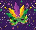 Mardi Gras Glamour Mask with Flat Style