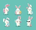 A set of cute white rabbit for symbol Easter day, with different pose, and Turquoise background color.