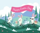 Happy Easter with cute cartoon Rabbit drive bicycle with carrying eggs.