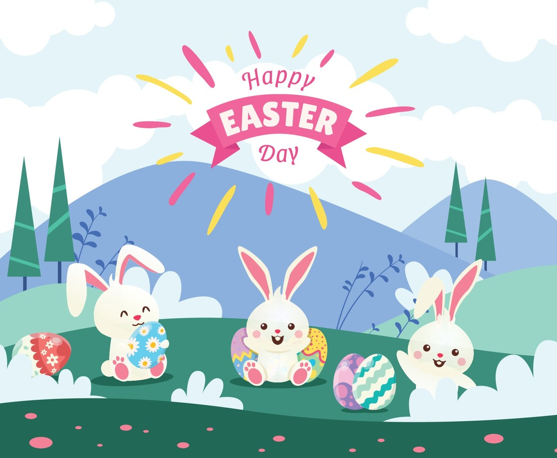 Happy Easter with Cute Cartoon Rabbit Holding Eggs.
