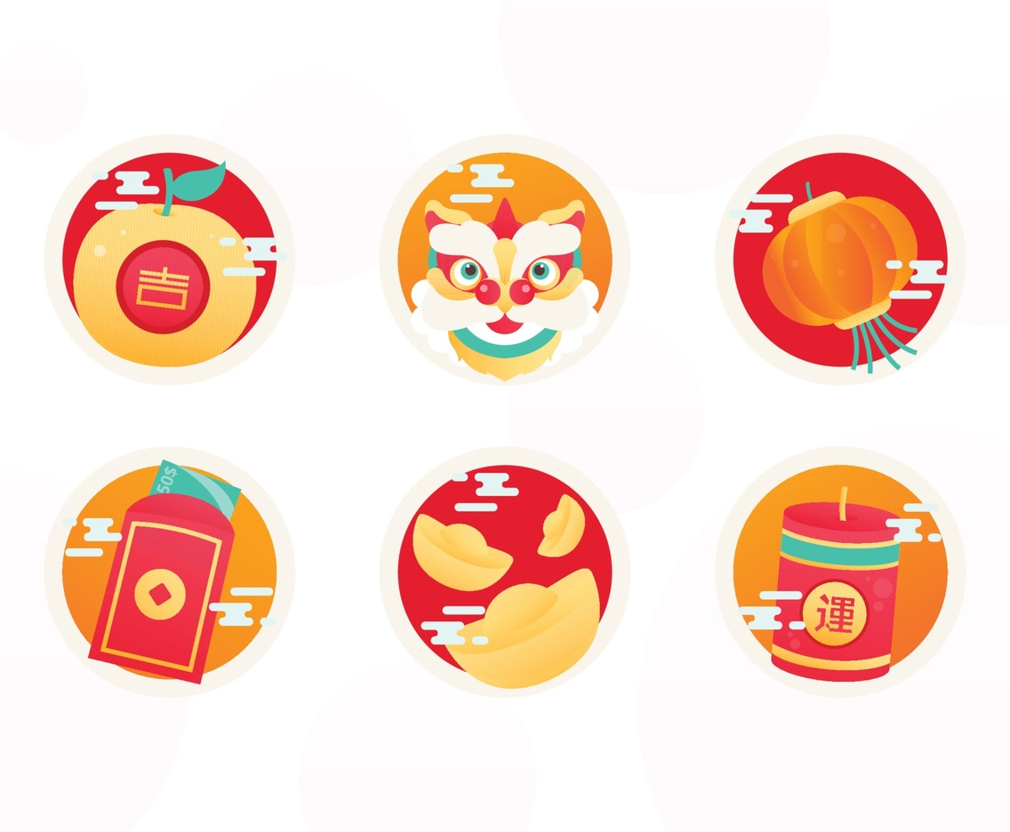 Happy Chinese New Year Cute Sticker Set.