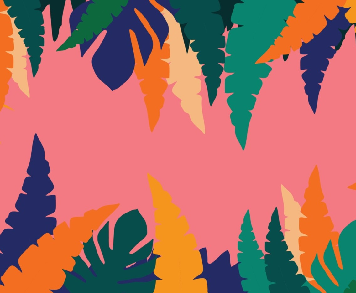 Colorful leaves poster background vector illustration. Exotic plants, branches, flowers and leaves art print for beauty and natural products, spa and wellness, fabric and fashion