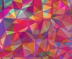 Abstract polygon color background, with brightly colored triangles, and overlapping line- art.