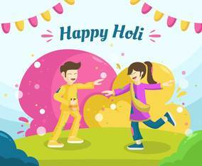 People celebrating happy holi festival on daylight