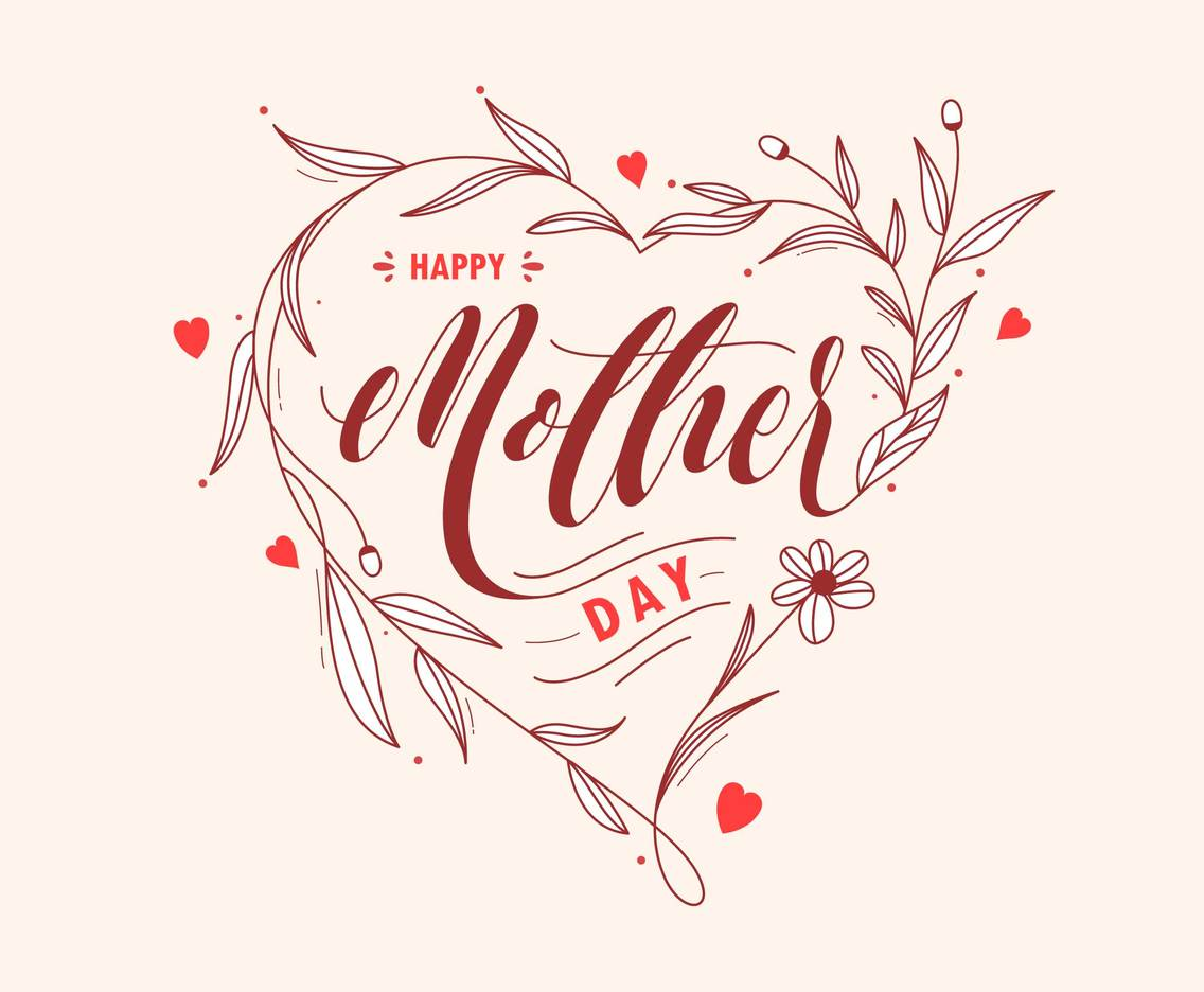 Happy Mother Day greeting with love and flower illustration