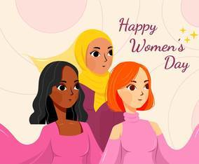 Happy Women's Day with diverse skin tone
