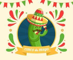 A Happy Cactus playing marakas to celebrate Cinco de Mayo