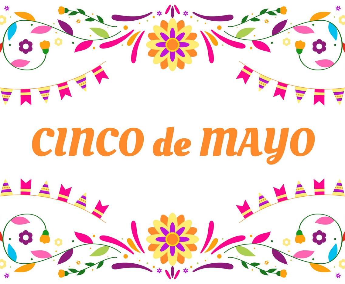 Colorfull Cinco de Mayo background with flower and flag