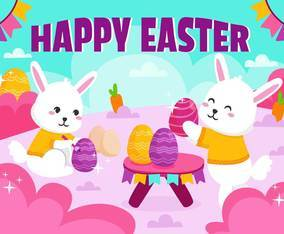 Happy Bunny celebrating the easter festival