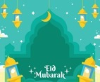Lantern On Eid Greeting Cards