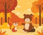 Bear and Fox Enjoying Autumn in the Forest