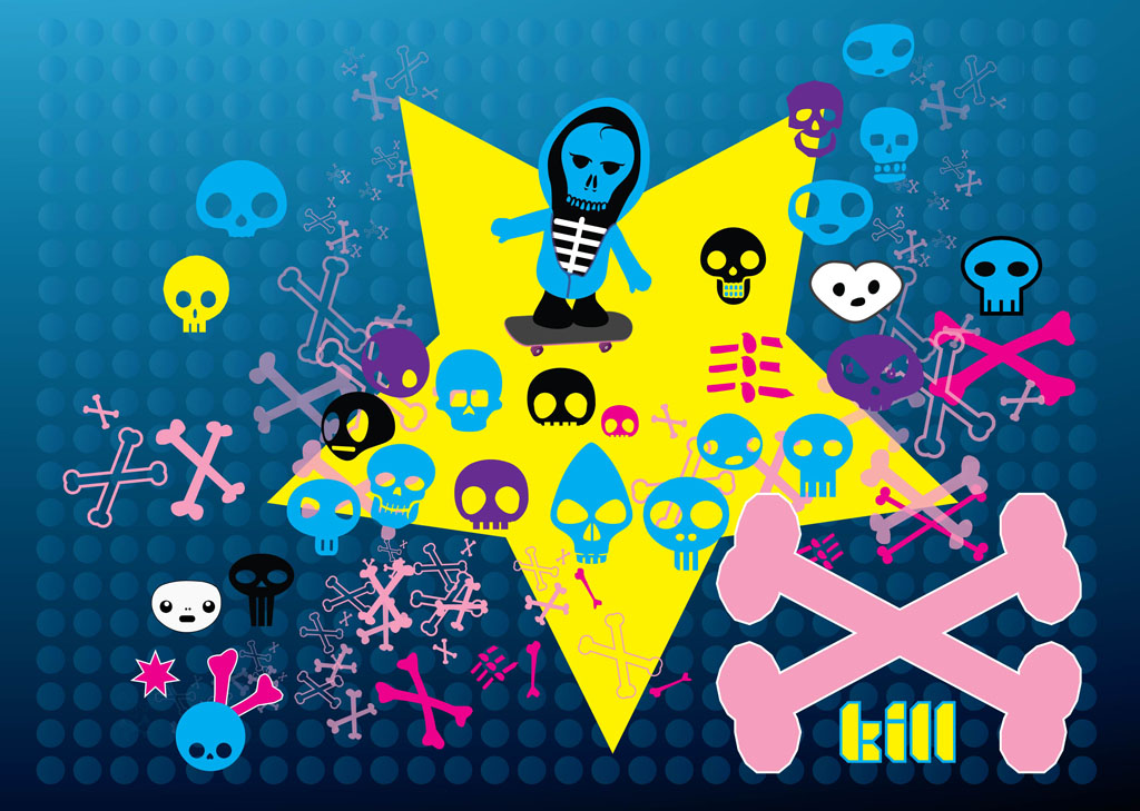 Free Cartoon Skulls Vectors
