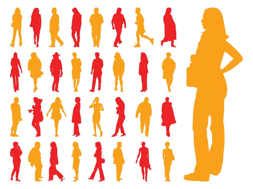 Walking People Silhouettes Set Vector Art & Graphics ...