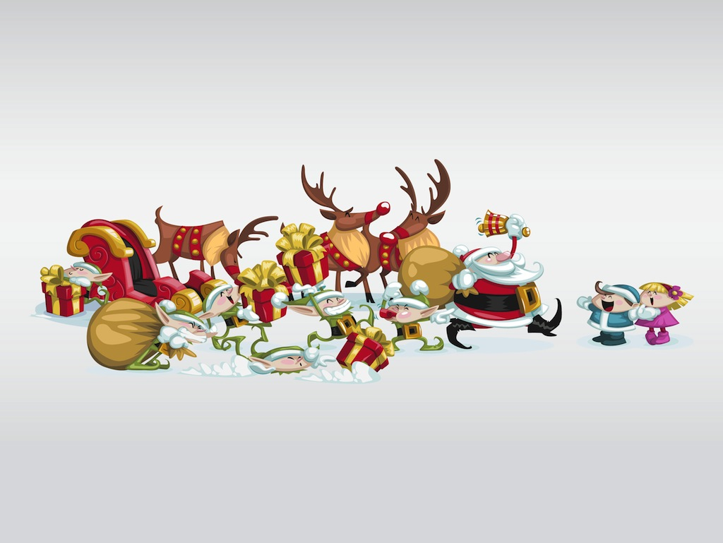 Funny Christmas Images.Funny Christmas Characters Vector Art Graphics