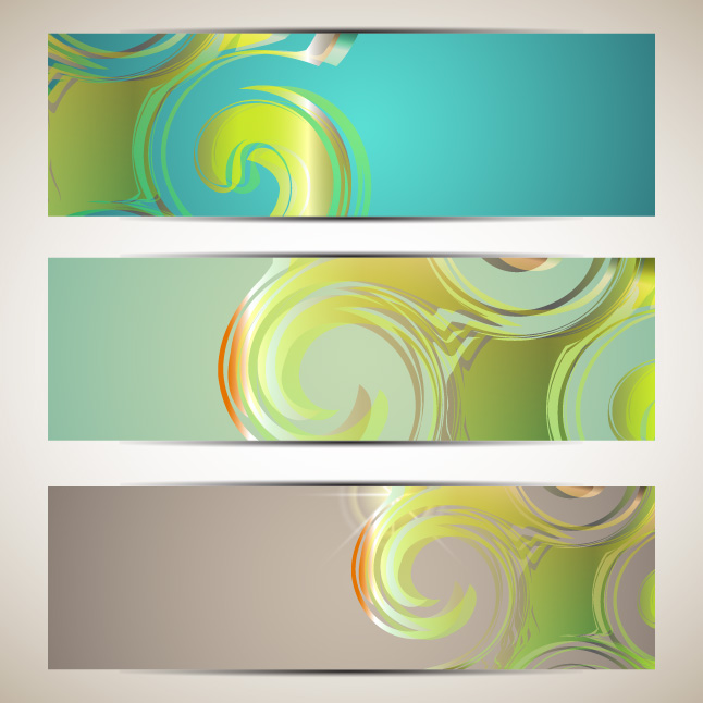 Swirly Banner Vectors Set