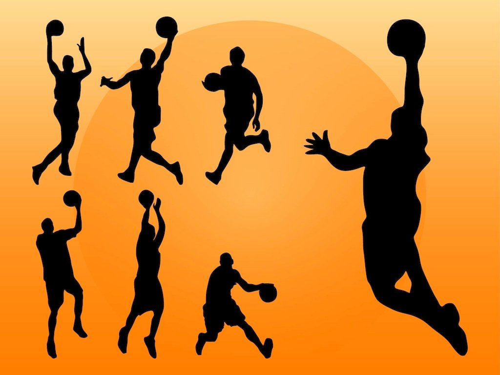 Basketball Players Silhouettes Vector Art & Graphics ...