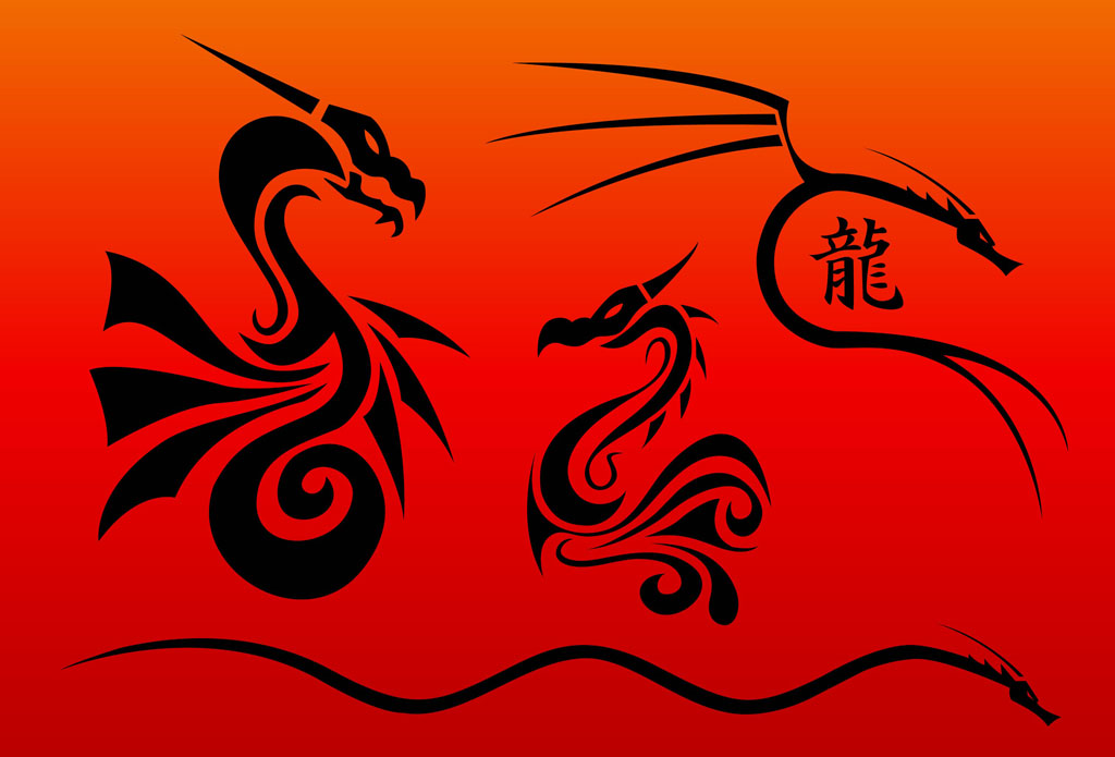 Chinese dragons vectors for Chinese vector